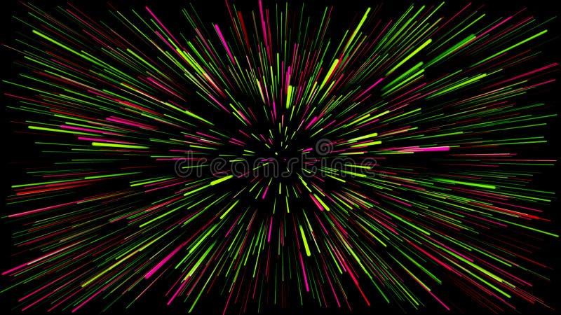Ένα σκοτεινό υπόβαθρο με τις αφηρημένες γραμμές που βγαίνουν από το κέντρο των πράσινων και ρόδινων χρωμάτων διανυσματική απεικόνιση