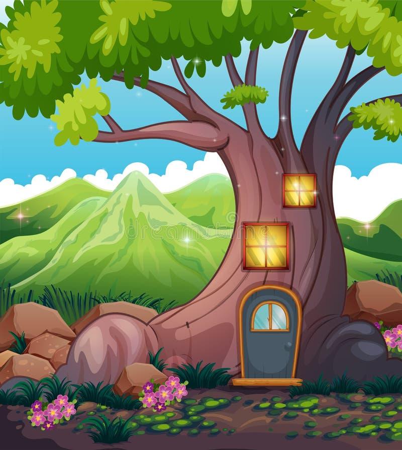 Ένα σπίτι δέντρων στη μέση του δάσους ελεύθερη απεικόνιση δικαιώματος