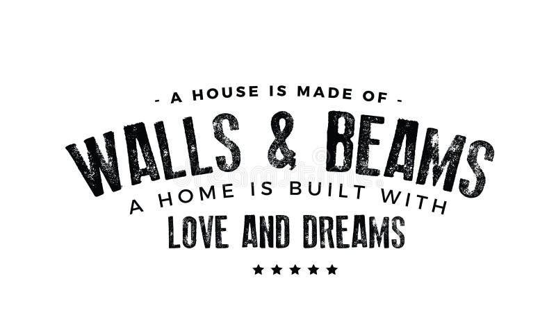 Ένα σπίτι αποτελείται από τους τοίχους και τις ακτίνες ελεύθερη απεικόνιση δικαιώματος