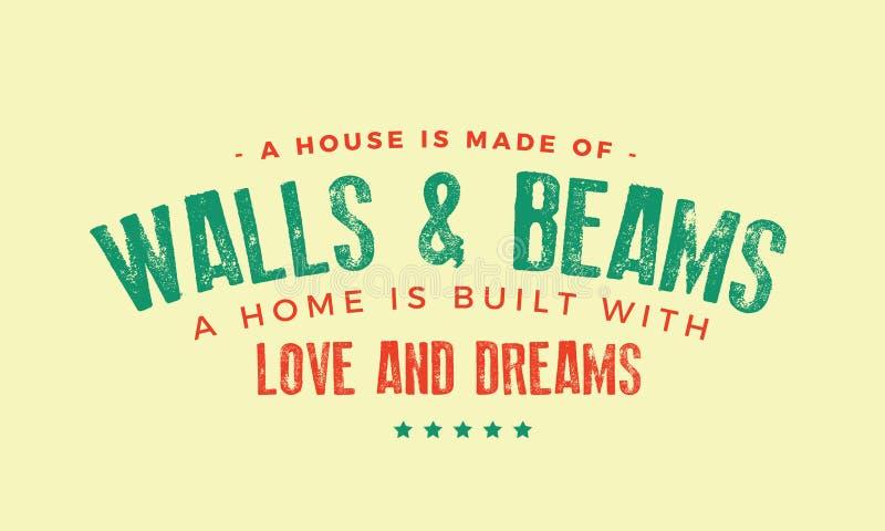 Ένα σπίτι αποτελείται από τους τοίχους και τις ακτίνες διανυσματική απεικόνιση