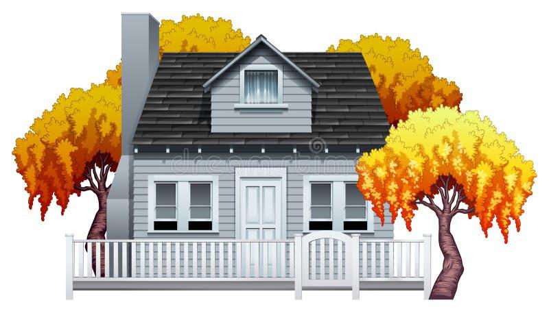 Ένα σπίτι με το φράκτη διανυσματική απεικόνιση