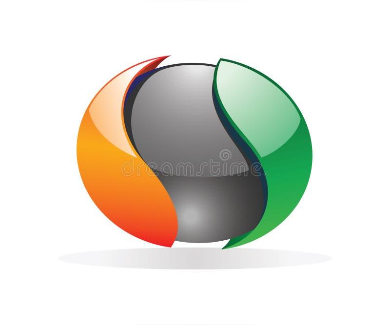 Ένα στρογγυλό αντικείμενο yin yang για το λογότυπο για τις επιχειρήσεις σας απεικόνιση αποθεμάτων