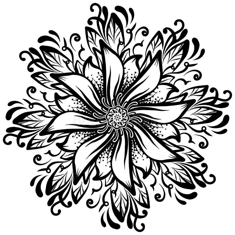Ένα στρογγυλό hand-drawn υπόβαθρο σχεδίων ένα λουλούδι, μονοχρωματική διανυσματική απεικόνιση ελεύθερη απεικόνιση δικαιώματος