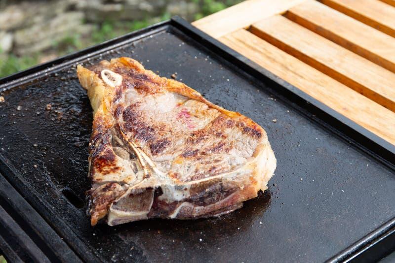 Ένα συμπαθητικό κομμάτι του κρέατος στο γεύμα ταψακιών στον κήπο έτοιμο στη σχάρα στοκ εικόνες