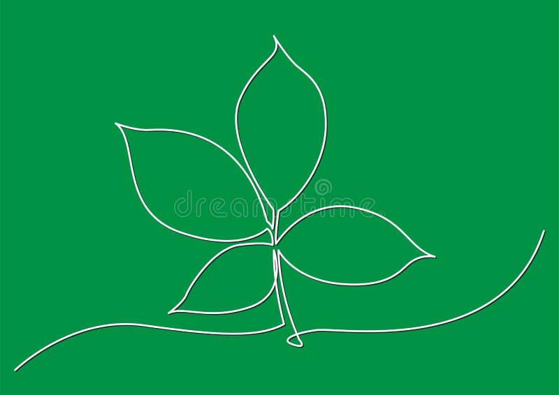 Ένα σχέδιο γραμμών του απομονωμένου διανυσματικού αντικειμένου - φύλλο δέντρων διανυσματική απεικόνιση