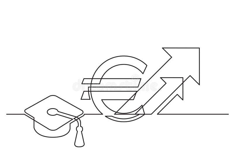 Ένα σχέδιο γραμμών του απομονωμένου διανυσματικού αντικειμένου - αυξανόμενο κόστος της εκπαίδευσης σε ευρώ ελεύθερη απεικόνιση δικαιώματος