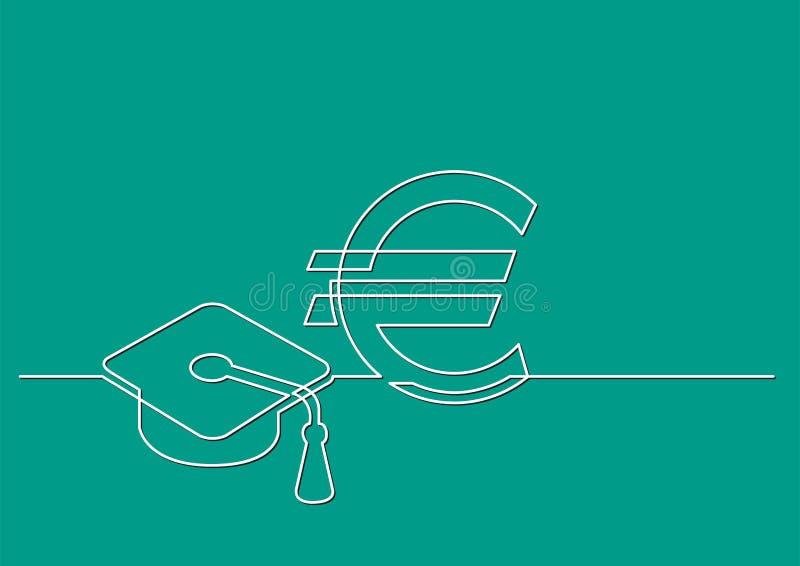 Ένα σχέδιο γραμμών του απομονωμένου διανυσματικού αντικειμένου - κόστος της εκπαίδευσης σε ευρώ διανυσματική απεικόνιση