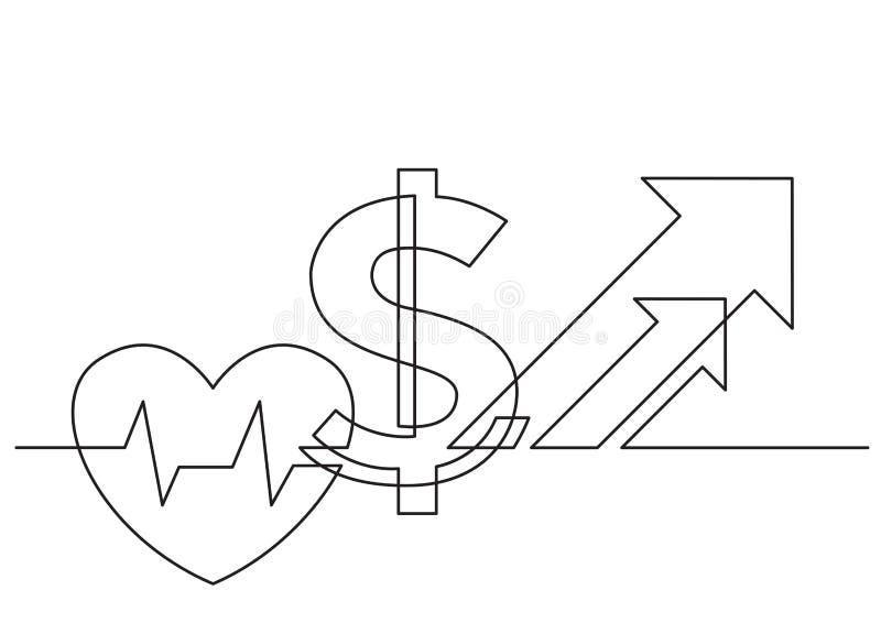Ένα σχέδιο γραμμών του απομονωμένου διανυσματικού αντικειμένου - αυξανόμενο κόστος της υγειονομικής περίθαλψης με την καρδιά και  απεικόνιση αποθεμάτων