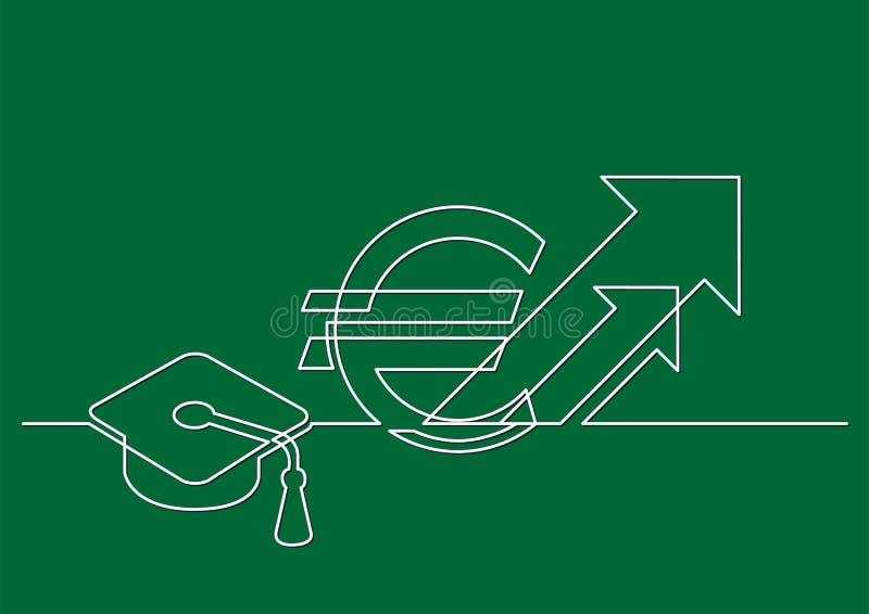 Ένα σχέδιο γραμμών του απομονωμένου διανυσματικού αντικειμένου - αυξανόμενο κόστος της εκπαίδευσης σε ευρώ διανυσματική απεικόνιση
