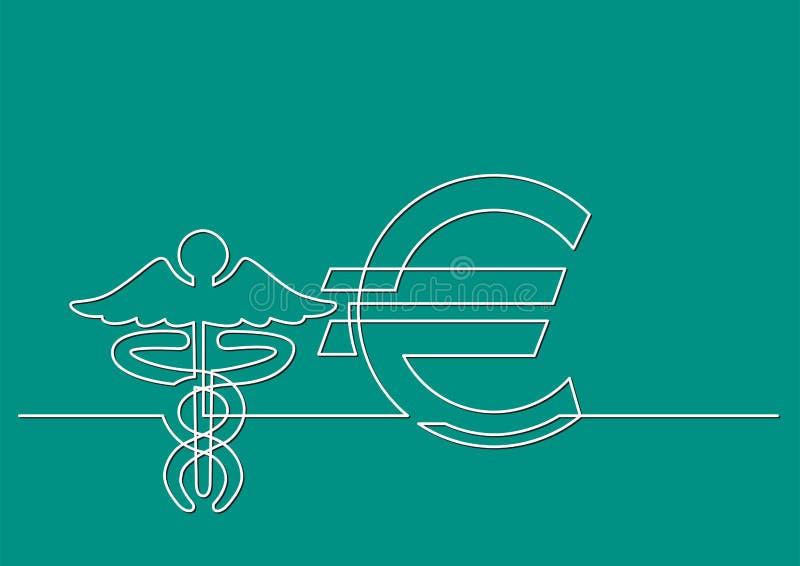 Ένα σχέδιο γραμμών του απομονωμένου διανυσματικού αντικειμένου - κόστος της υγειονομικής περίθαλψης σε ευρώ διανυσματική απεικόνιση