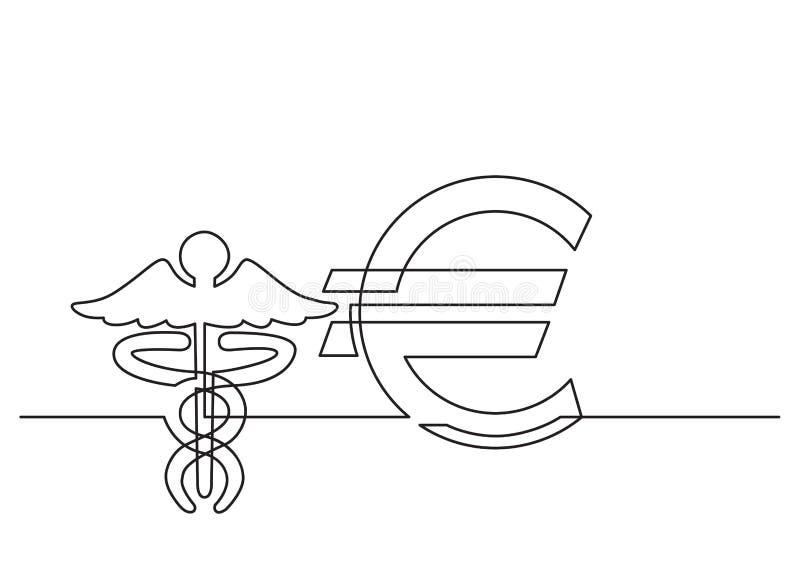 Ένα σχέδιο γραμμών του απομονωμένου διανυσματικού αντικειμένου - κόστος της υγειονομικής περίθαλψης σε ευρώ ελεύθερη απεικόνιση δικαιώματος