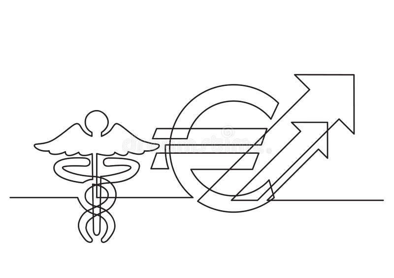 Ένα σχέδιο γραμμών του απομονωμένου διανυσματικού αντικειμένου - αυξανόμενο κόστος της υγειονομικής περίθαλψης σε ευρώ ελεύθερη απεικόνιση δικαιώματος
