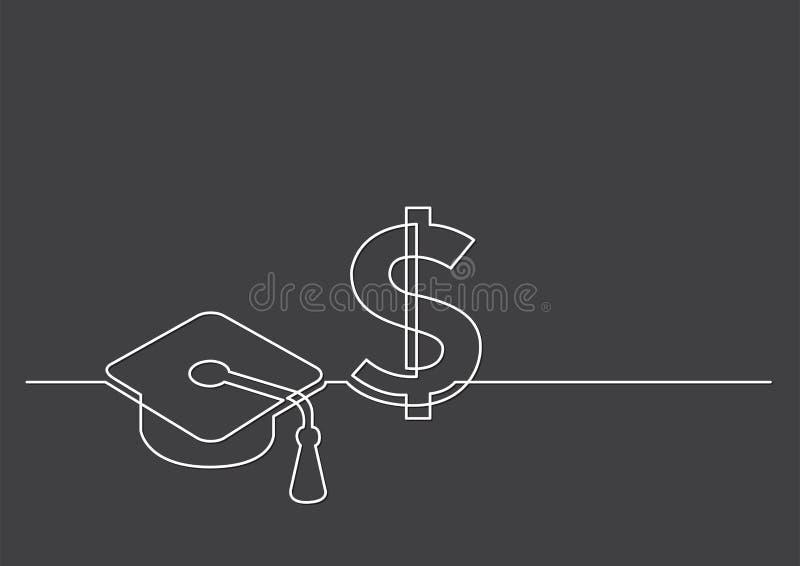 Ένα σχέδιο γραμμών των απομονωμένων διανυσματικών αντικειμένων - κόστος της εκπαίδευσης ελεύθερη απεικόνιση δικαιώματος