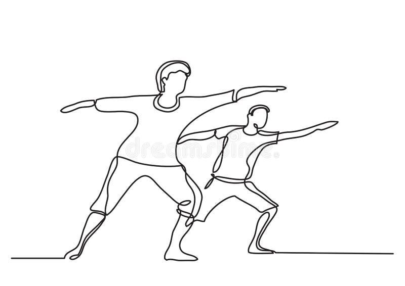 Ένα σχέδιο γραμμών των πρεσβυτέρων που κάνουν την άσκηση διανυσματική απεικόνιση