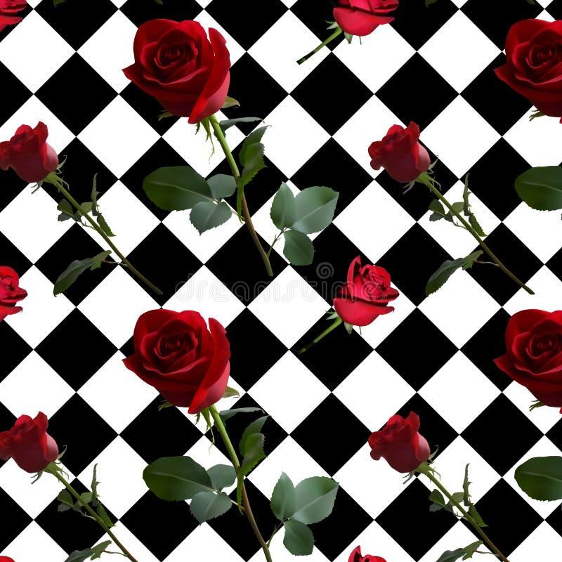 Ένα σχέδιο με τα κόκκινα τριαντάφυλλα με τα πράσινα φύλλα και έναν μακροχρόνιο μίσχο διανυσματική απεικόνιση