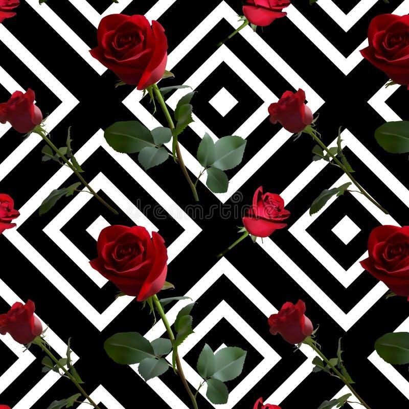 Ένα σχέδιο με τα κόκκινα τριαντάφυλλα με τα πράσινα φύλλα και ένας μακροχρόνιος μίσχος στο σχέδιο των μαύρων rhombuses απεικόνιση αποθεμάτων