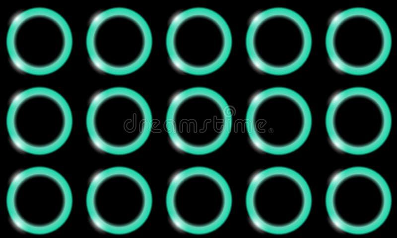 Ένα σχέδιο των μπλε ελαφριών αφηρημένων λαμπρών φωτεινών όμορφων δαχτυλιδιών νέου, σφαίρες, κύκλοι με το έντονο φως του φωτός σε  απεικόνιση αποθεμάτων