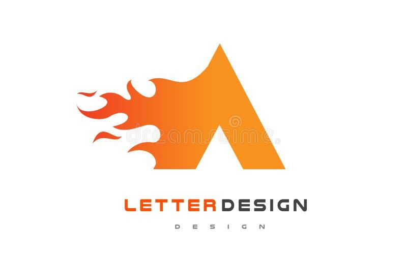 Ένα σχέδιο λογότυπων φλογών επιστολών Έννοια εγγραφής λογότυπων πυρκαγιάς απεικόνιση αποθεμάτων