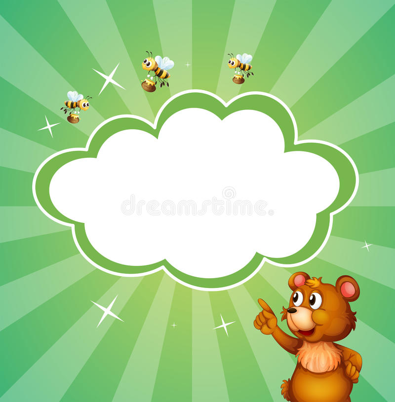 Ένα σχέδιο χαρτικών με μια αρκούδα και τις μέλισσες διανυσματική απεικόνιση