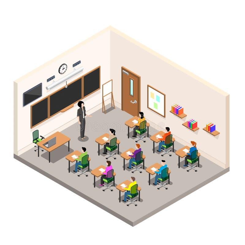 Ένα σχολικό δωμάτιο για τη μελέτη, μια τάξη με τα γραφεία και ένα σχολείο επιβιβάζονται, μια σύγχρονη κατηγορία στο isometric ύφο διανυσματική απεικόνιση