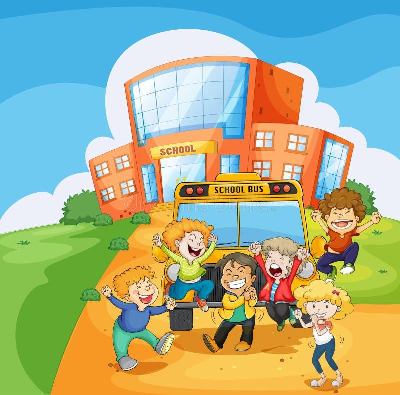 Ένα σχολικό λεωφορείο μπροστά από το σχολείο διανυσματική απεικόνιση