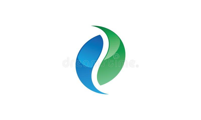 Ένα σύγχρονο λογότυπο yin-yang στο aqua και το μπλε χρώμα διανυσματική απεικόνιση