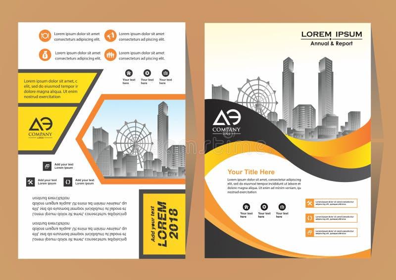 Ένα σύγχρονο σχεδιάγραμμα φυλλάδιων επιχειρησιακής κάλυψης με τη διανυσματική απεικόνιση μορφής απεικόνιση αποθεμάτων