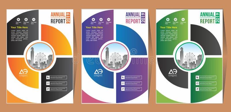 Ένα σύγχρονο σχεδιάγραμμα φυλλάδιων επιχειρησιακής κάλυψης με τη διανυσματική απεικόνιση μορφής ελεύθερη απεικόνιση δικαιώματος