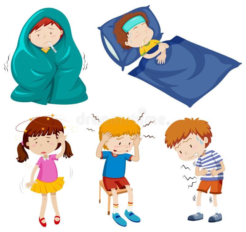 Ένα σύνολο άρρωστων παιδιών διανυσματική απεικόνιση