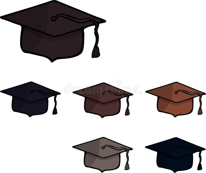 Ένα σύνολο έξι τετραγωνικών ακαδημαϊκών καλυμμάτων πίσω σχολείο διάνυσμα ελεύθερη απεικόνιση δικαιώματος