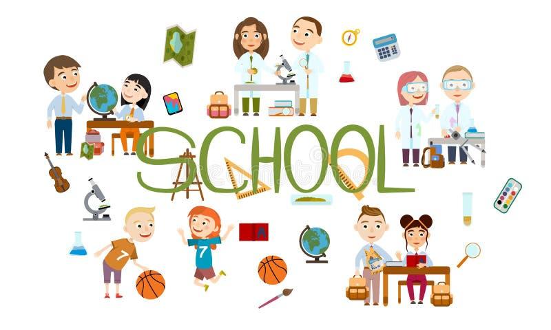 Ένα σύνολο αγοριών και κοριτσιών στο σχολείο Σπουδαστής στα διαφορετικά μαθήματα απεικόνιση αποθεμάτων