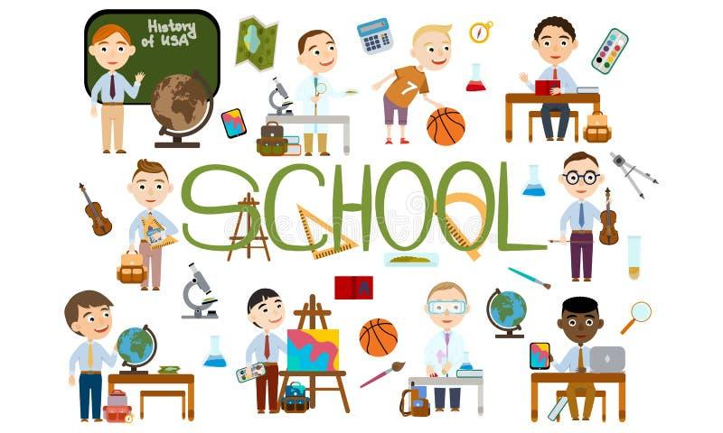 Ένα σύνολο αγοριών στο σχολείο Σπουδαστής στα διαφορετικά μαθήματα διανυσματική απεικόνιση
