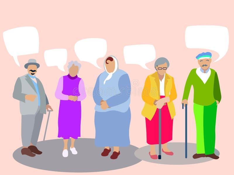 Ένα σύνολο ανθρώπων, συνταξιούχοι, παππούδες και γιαγιάδες η ανασκόπηση απομόνωσε το λευκό Στο μινιμαλιστικό ύφος Επίπεδο διανυσμ ελεύθερη απεικόνιση δικαιώματος