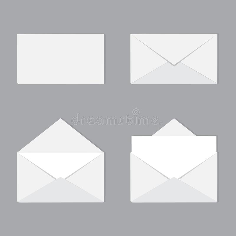 Ένα σύνολο ανοικτών και κλειστών φακέλων με την επιστολή Αλληλογραφία, διανυσματική απεικόνιση