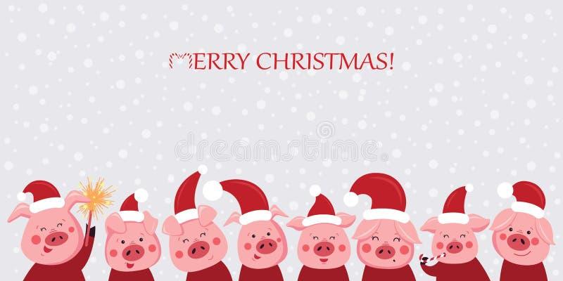 Ένα σύνολο αστείων και χαριτωμένων χοίρων για τις κάρτες διακοπών διακοσμήσεων Χοίροι Χριστουγέννων επίσης corel σύρετε το διάνυσ απεικόνιση αποθεμάτων