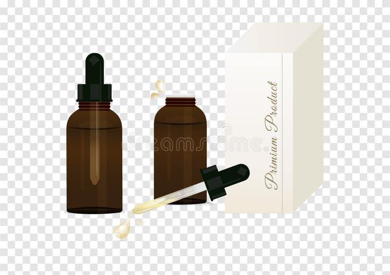 Ένα σύνολο ασφαλίστρου αποτελεί το μπουκάλι ορών με dropper γυαλιού τη συσκευασία για το υγρό συσκευασίας που απομονώνεται στο υπ απεικόνιση αποθεμάτων