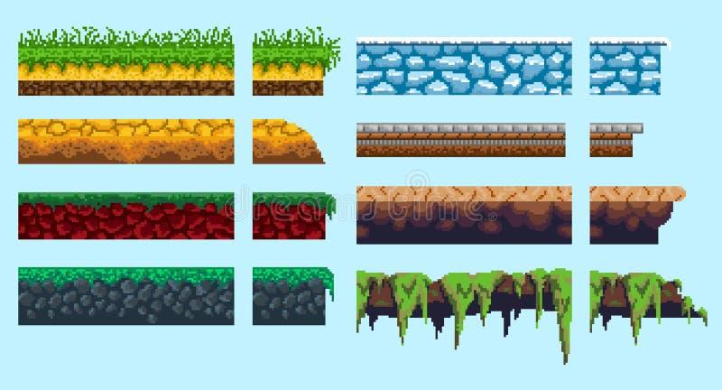 Ένα σύνολο βασικών για τη δημιουργία του άνευ ραφής τοπίου εικονοκυττάρου διανυσματική απεικόνιση