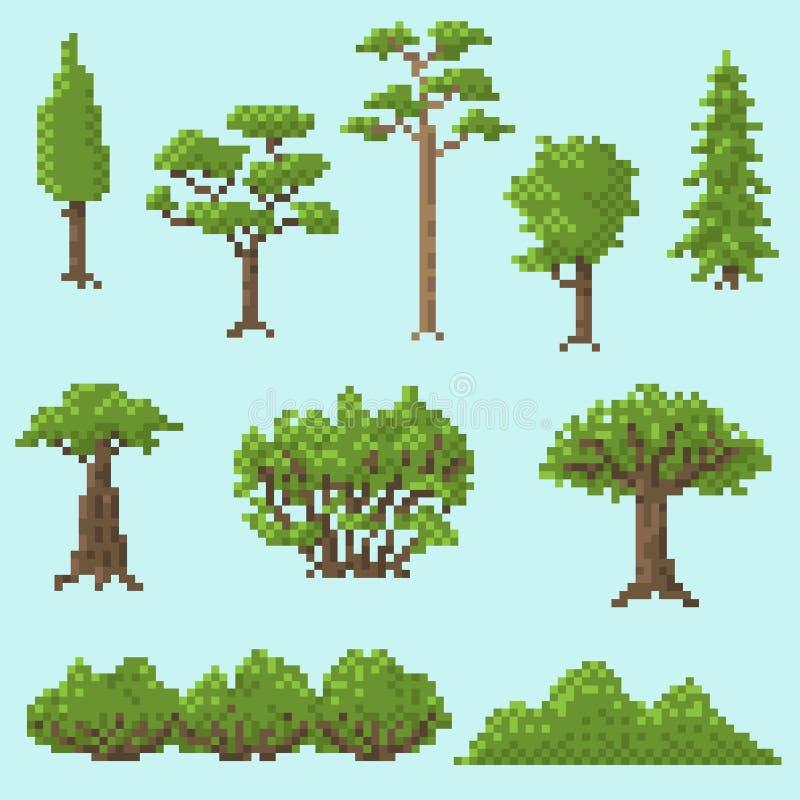 Ένα σύνολο δέντρων εικονοκυττάρου για τα παιχνίδια ελεύθερη απεικόνιση δικαιώματος