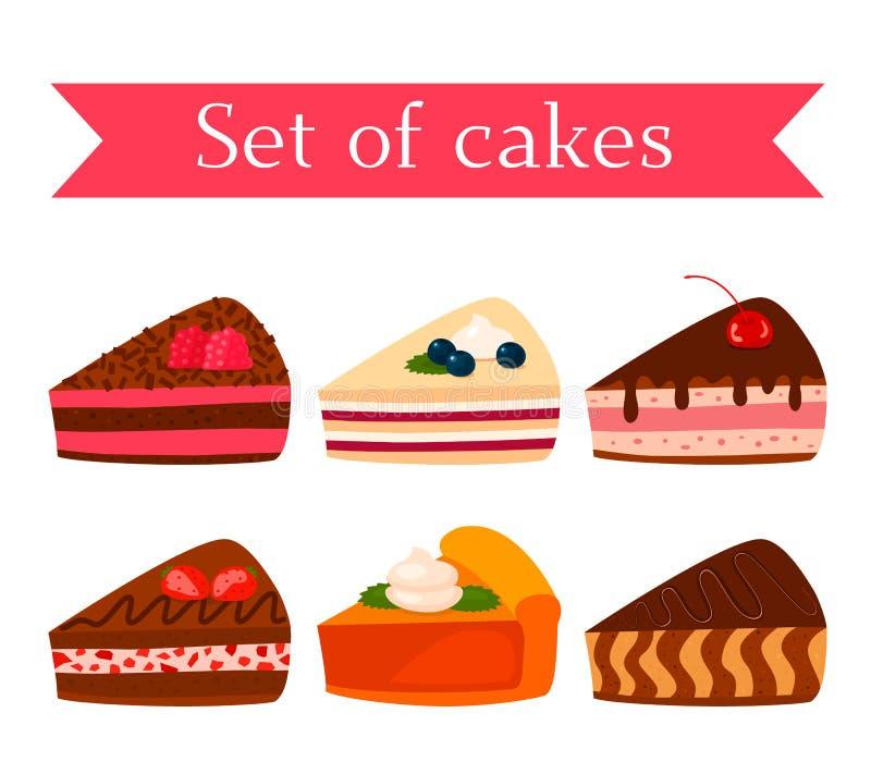 Ένα σύνολο διάφορων νόστιμων μπισκότων - σοκολάτα, καρύδι, σμέουρο, φράουλα και κολοκύθα επίπεδη διανυσματική απεικόνιση που απομ απεικόνιση αποθεμάτων