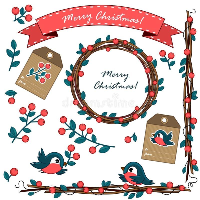 Ένα σύνολο διακοσμήσεων Χριστουγέννων με τα μούρα διανυσματική απεικόνιση