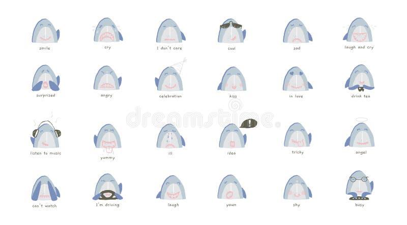 Ένα σύνολο διανυσματικού συρμένου χέρι emoji Χαριτωμένα χαμόγελα καρχαριών με τις συγκινήσεις απεικόνιση αποθεμάτων