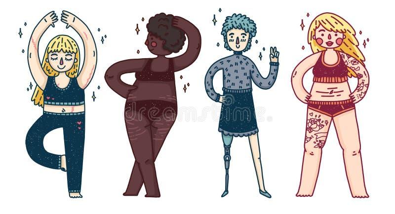 Ένα σύνολο διαφορετικών κοριτσιών Γυναίκες με τα υπέρβαρα, προσθετικά πόδια, τα σημάδια τεντωμάτων, το cyllulitis και τα σημάδια  διανυσματική απεικόνιση
