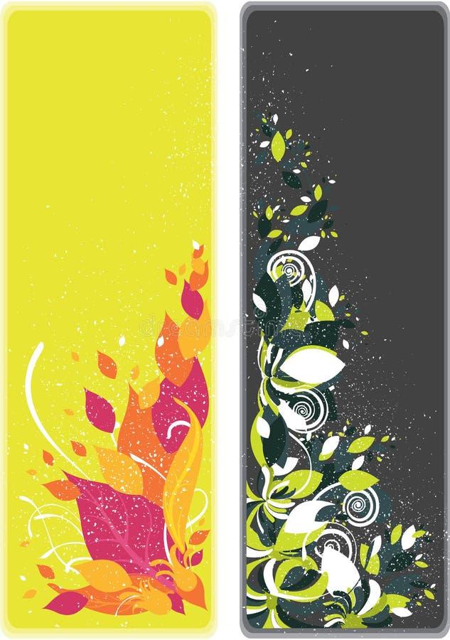 Ένα σύνολο δύο floral σελιδοδεικτών και εμβλημάτων ελεύθερη απεικόνιση δικαιώματος