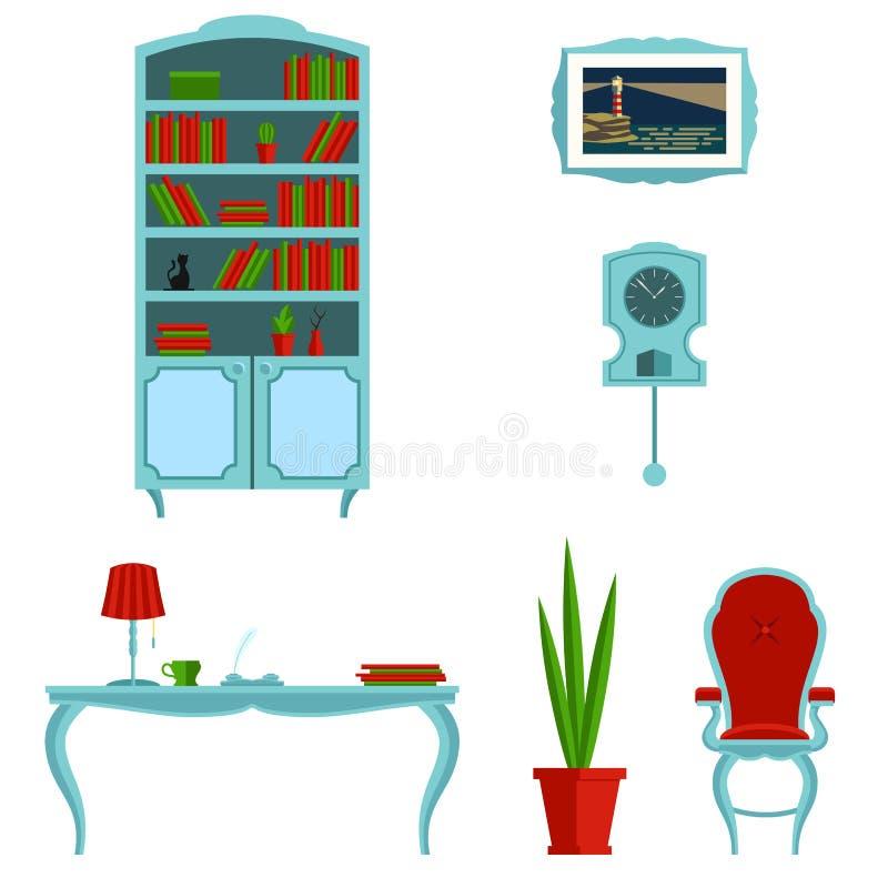 Ένα σύνολο επίπλων για το γραφείο σε ένα κλασικό ύφος r Το εσωτερικό του δωματίου ελεύθερη απεικόνιση δικαιώματος