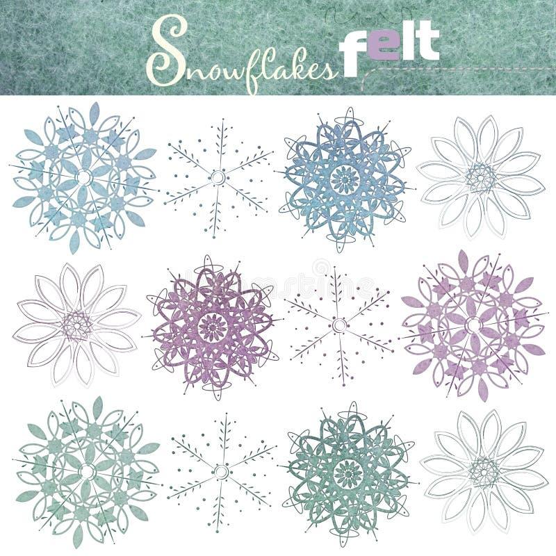 Ένα σύνολο ζωηρόχρωμα snowflakes φιαγμένο από αισθητός η ανασκόπηση απομόνωσε το λευκό απεικόνιση αποθεμάτων