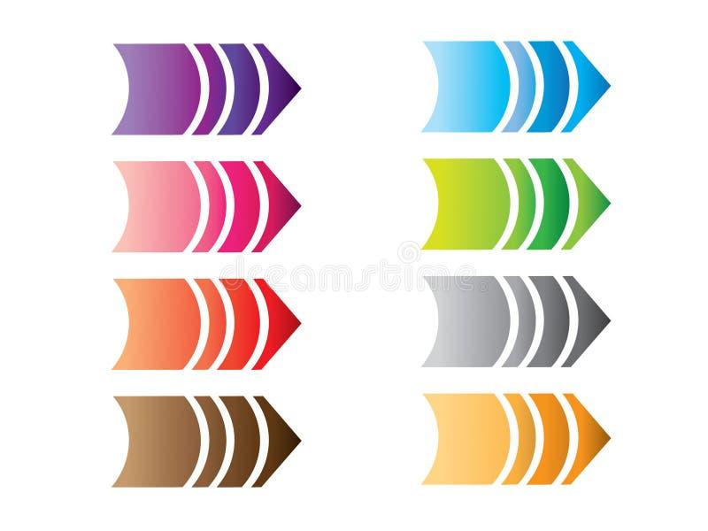 Ένα σύνολο ζωηρόχρωμων απλών δεικτών βελών σχεδίου για την κατεύθυνση απεικόνιση αποθεμάτων