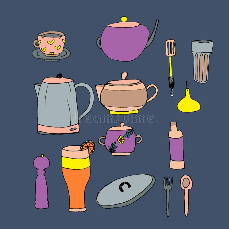 Ένα σύνολο ζωηρόχρωμων στοιχείων για την κουζίνα Εργαλεία κουζινών σε μια περιορισμένη σειρά χρώματος o Συρμένος από ένα μαύρο σκ απεικόνιση αποθεμάτων