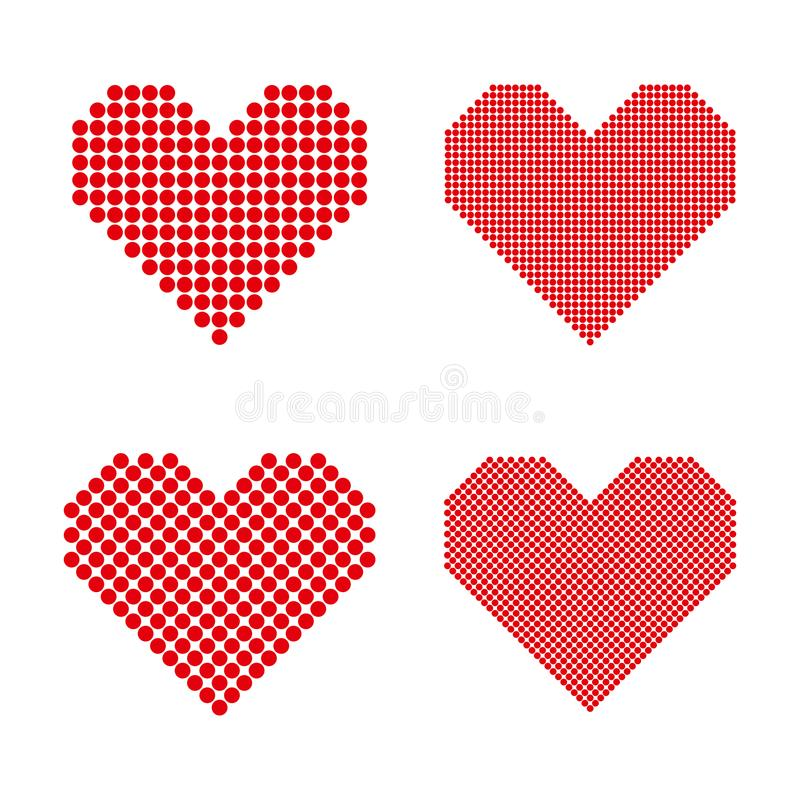 Ένα σύνολο ημίτοών καρδιών απεικόνιση αποθεμάτων