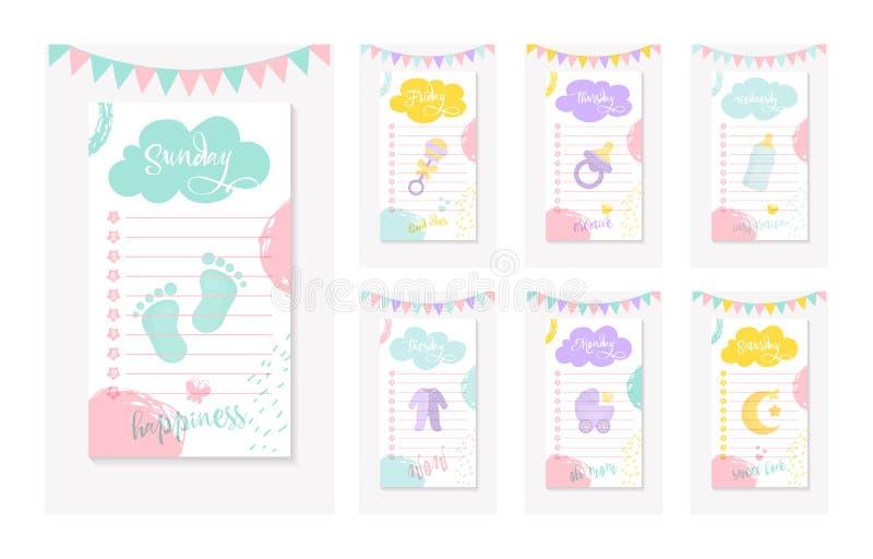 Ένα σύνολο καθημερινά για να κάνει τους καταλόγους για μια μητέρα ενός νεογέννητου παιδιού ελεύθερη απεικόνιση δικαιώματος