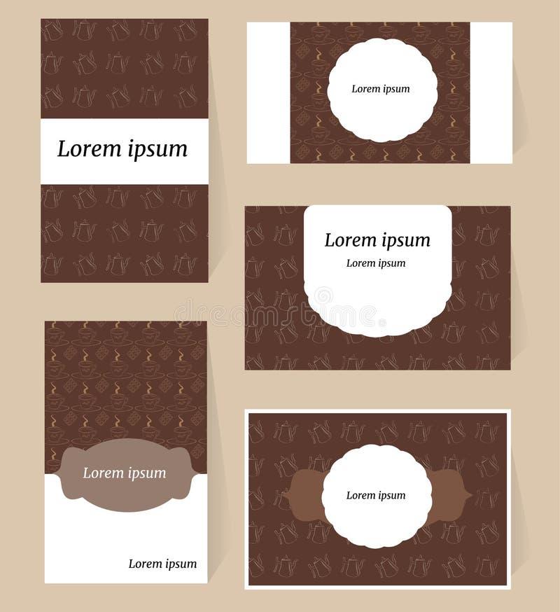 Ένα σύνολο κομψών καρτών με έναν καφέ και ένα σχέδιο καφέ των δοχείων και των φλυτζανιών καφέ r διανυσματική απεικόνιση